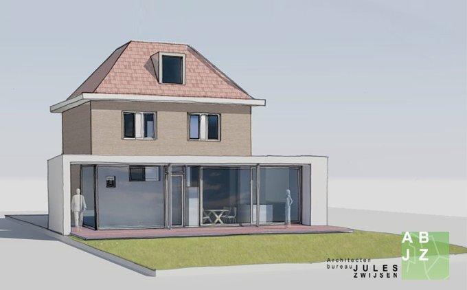 Verbouw en uitbouw bilthoven abjz architectenbureau for Moderne aanbouw aan klassiek huis