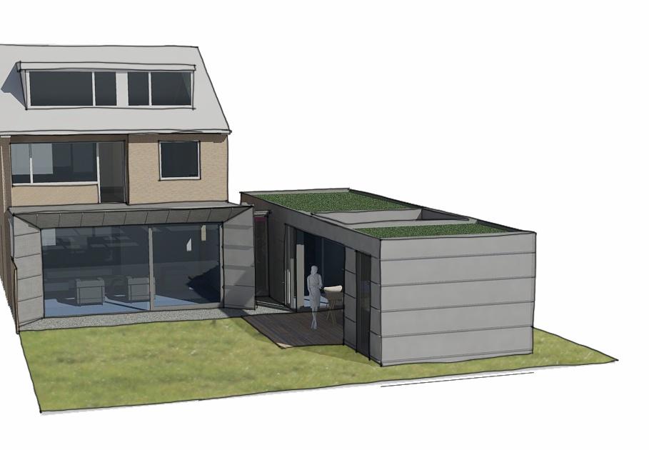 moderne uitbouw aanbouw jaren zeventig woning
